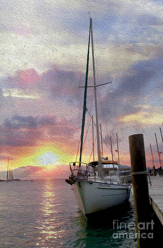Sailboat Art Print featuring the mixed media Sailboat by Jon Neidert