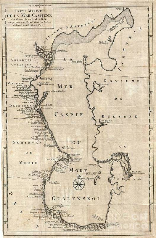 An Uncommon Variant On Carl Van Verden's Important 1719 – 1721 Mapping Of The Caspian Sea. Around 1718 The Russian Tzar Art Print featuring the photograph 1730 Van Verden Map Of The Caspian Sea by Paul Fearn