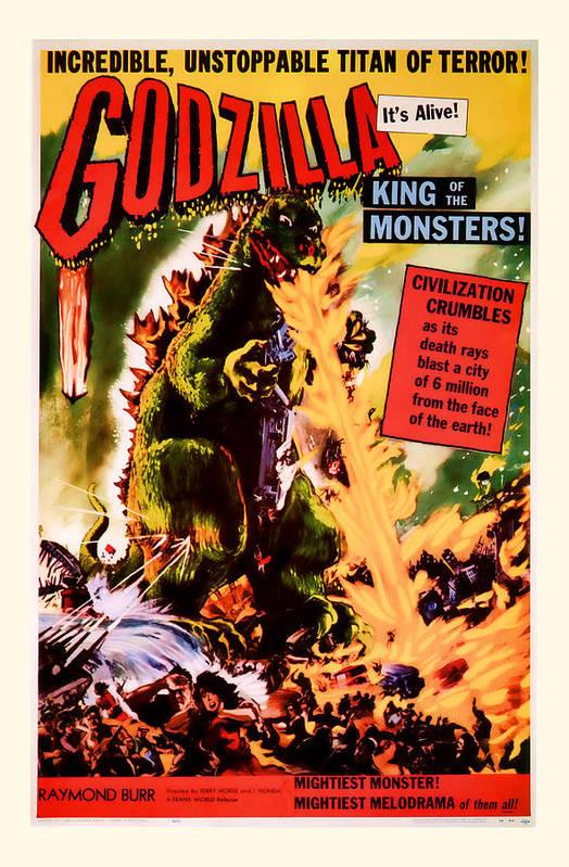 1956 Godzilla Vintage Movie Art Art Print By Presented By