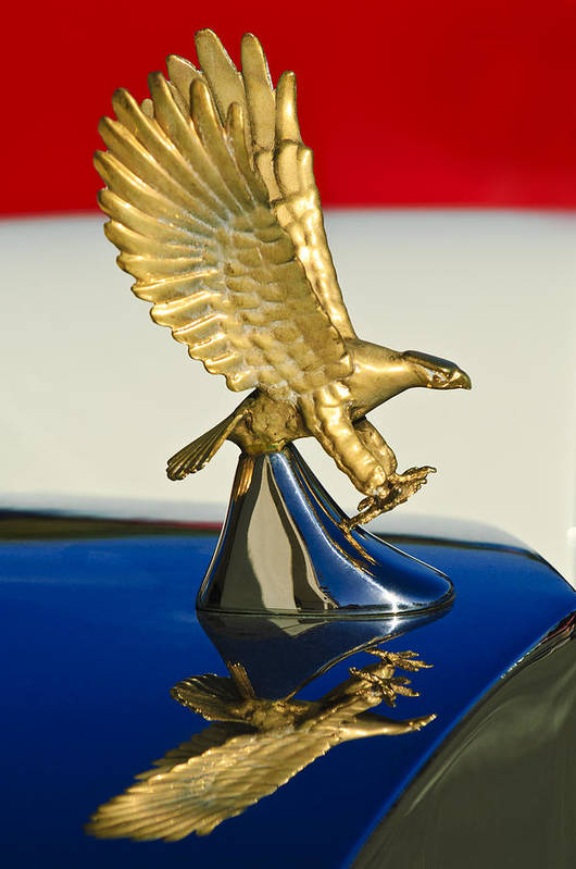 1986 Zimmer Golden Spirit Art Print featuring the photograph 1986 Zimmer Golden Spirit Hood Ornament by Jill Reger