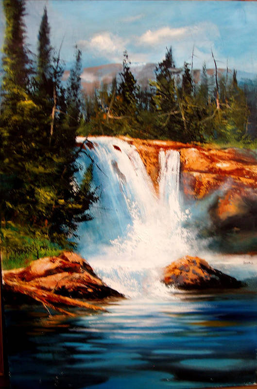 Landscape Art Print featuring the painting Mountain Falls by Robert Carver