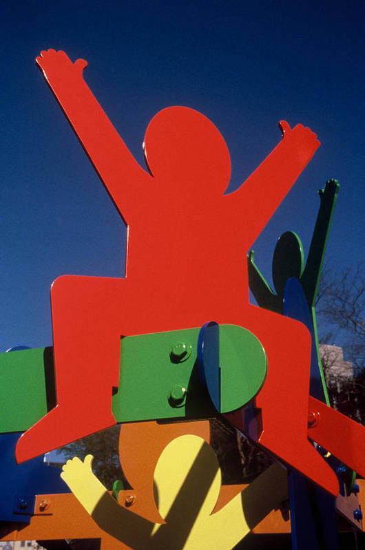 Colorful Art Print featuring the sculpture Fathers And Sons by Peter Michel