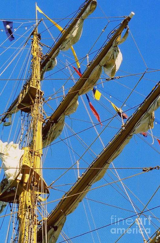 Tall Ship Photos Art Print featuring the photograph I Thought I Saw Three Sailing Ships Three Sailing Ships Early In The Morn N by Michael Hoard