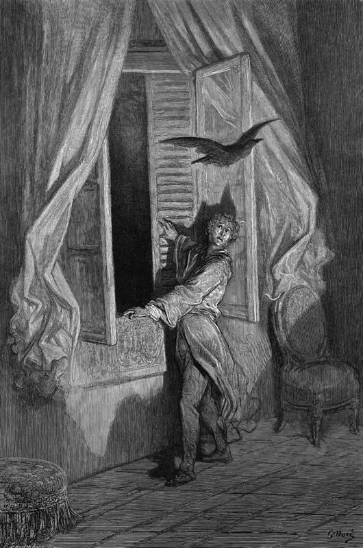 1882 Art Print featuring the drawing The Raven by Gustave Dore