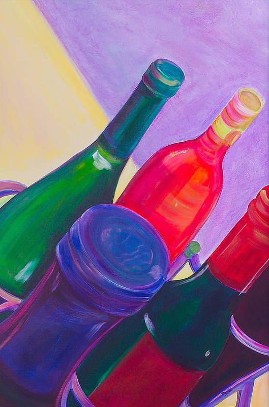 Wine Art Print featuring the painting A Full Rack by Debi Starr