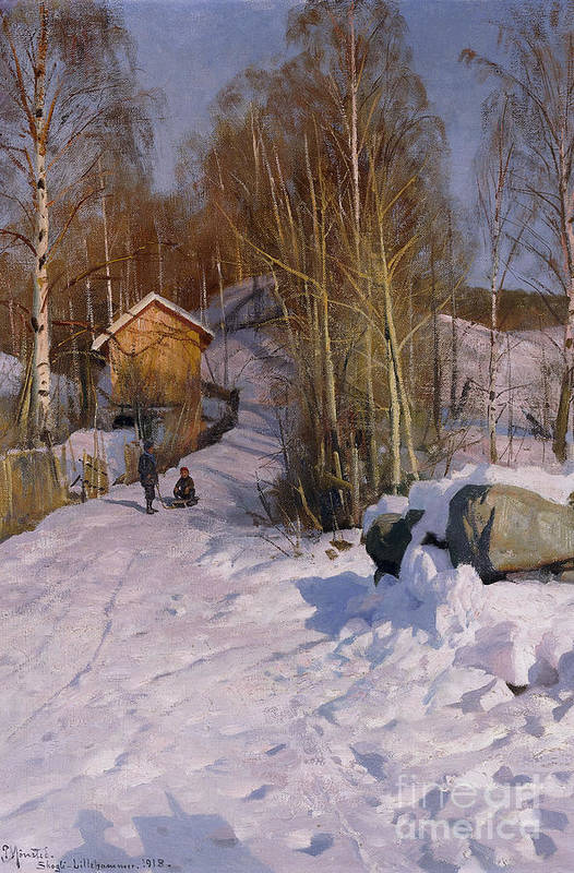 1918 Print featuring the painting A Winter Landscape With Children Sledging by Peder Monsted