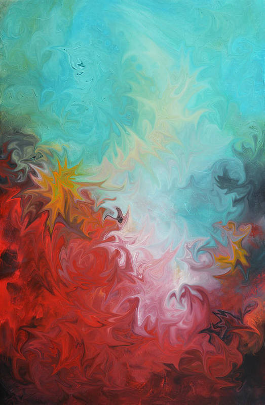 Abstract Paintings Art Print featuring the digital art Abstract Red Blue Digital Print by Andrada Anghel