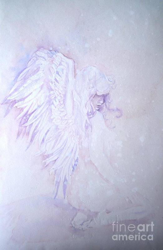 Angel Snow Art Print featuring the painting Angel by Sandra Phryce-Jones