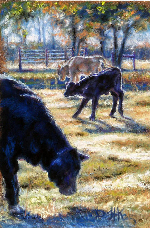 Animals Art Print featuring the pastel Angus Calves Out With Dad by Denise Horne-Kaplan