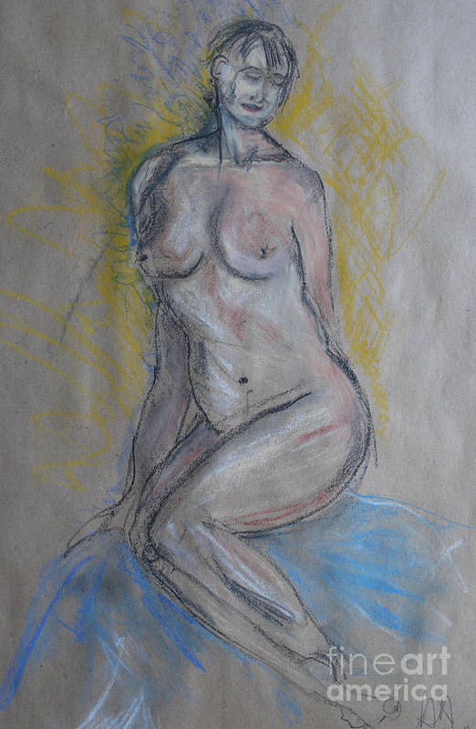 Nude Drawing Art Print featuring the drawing Before The Last Pose by Heather Hennick