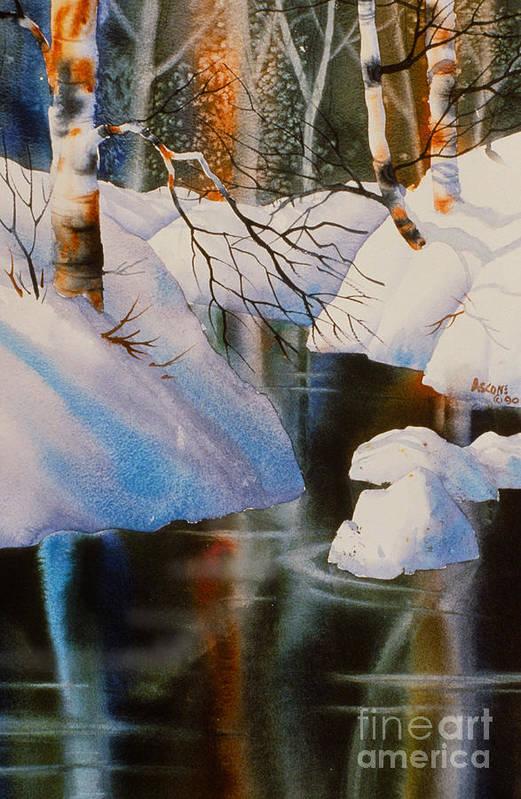 Birch At Russian Jack Park Art Print featuring the painting Birch At Russian Jack Park by Teresa Ascone