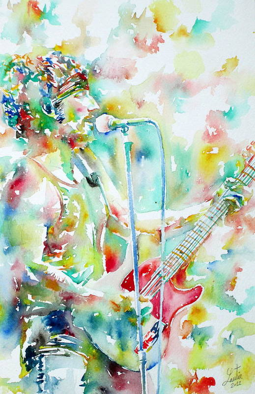 Bruce Art Print featuring the painting Bruce Springsteen Playing The Guitar Watercolor Portrait.1 by Fabrizio Cassetta