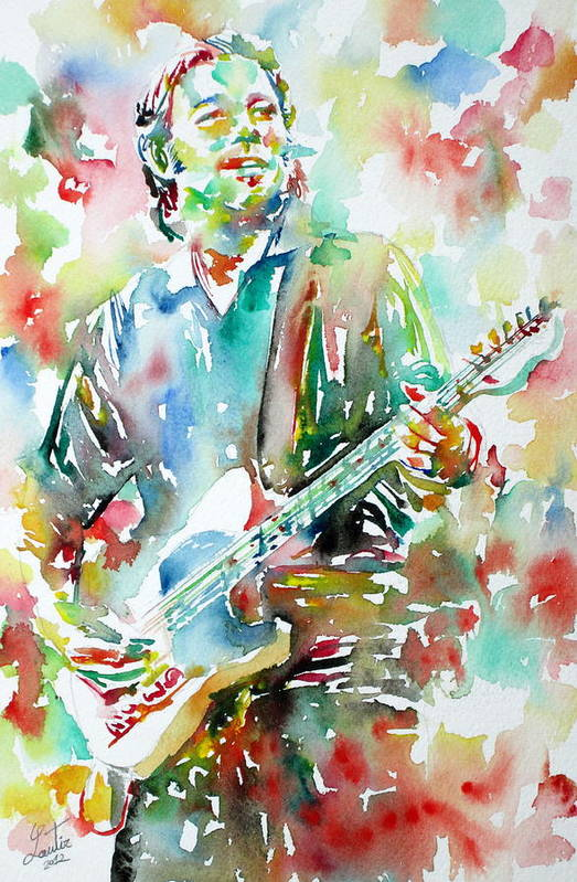 Bruce Art Print featuring the painting Bruce Springsteen Playing The Guitar Watercolor Portrait.3 by Fabrizio Cassetta