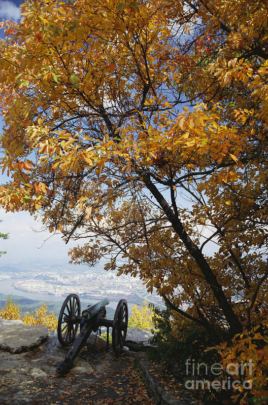 History Art Print featuring the photograph Cannon On Top Of Lookout Mountain by Bruce Roberts