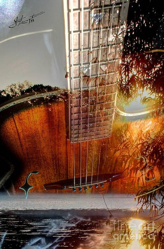 Acoustic Art Print featuring the photograph Country Music Digital Guitar Art By Steven Langston by Steven Lebron Langston