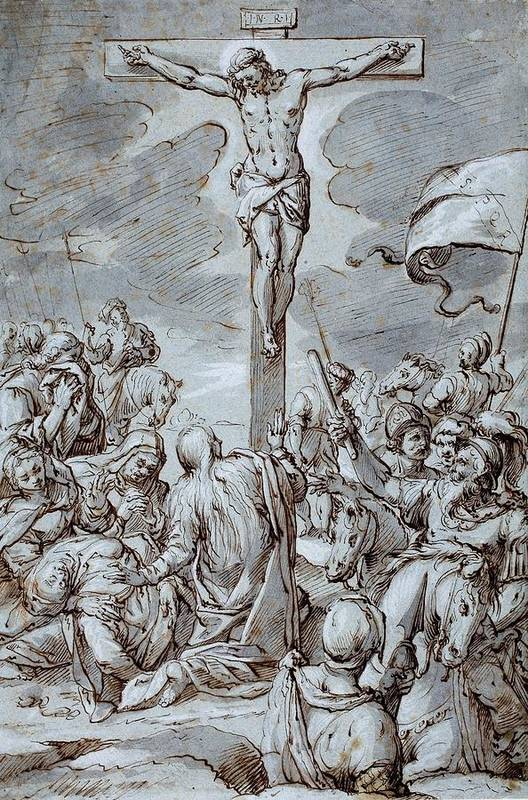Crucifixion Art Print featuring the drawing Crucifixion by Johann or Hans von Aachen