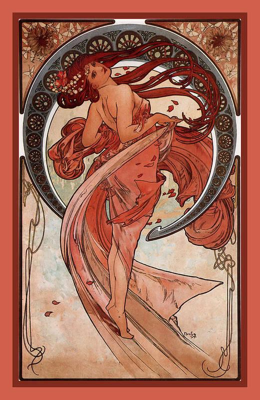 Alphonse Maria Mucha Print featuring the digital art Dance by Alphonse Maria Mucha