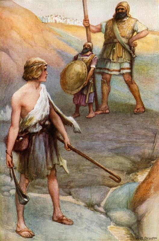 Bible Art Print featuring the painting David And Goliath by Arthur A Dixon