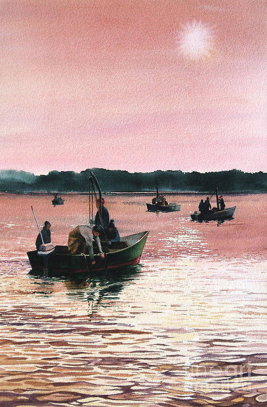 Sunrise Art Print featuring the painting Early Morning Scallopers by Karol Wyckoff