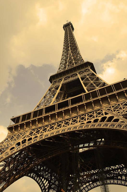 Landscape Eiffel Tower Paris France Photography Art Print featuring the photograph Eiffel Tower Paris France Sepia by Patricia Awapara