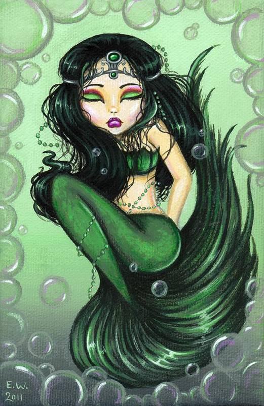 Fantasy Mermaid Art Print featuring the painting Emerald Sea Princess by Elaina Wagner