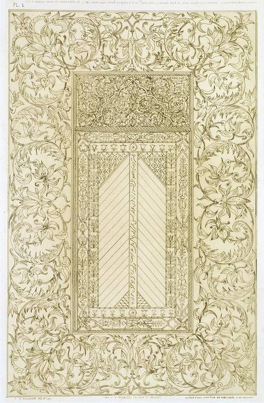 Fireplace; Divan; Diwan; Majlis; Carved; Interior; Smoking; Pipe; Servant; Reception Room; Lounge; Islamic; Decoration Art Print featuring the drawing Example Of A Turkish Chimney by Jean Francois Albanis de Beaumont