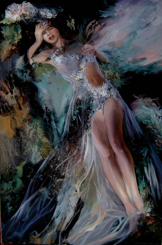 Fairy Art Print featuring the painting Fairy by Nelya Shenklyarska