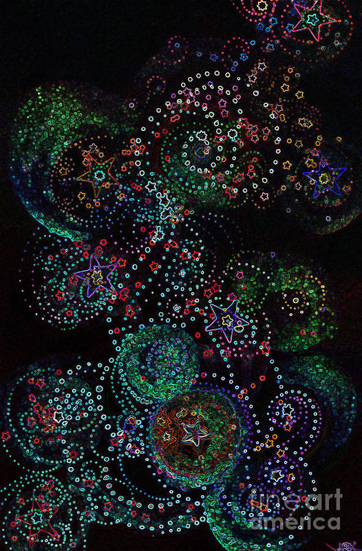 Firststarart Art Print featuring the mixed media Fireworks Celebration By Jrr by First Star Art