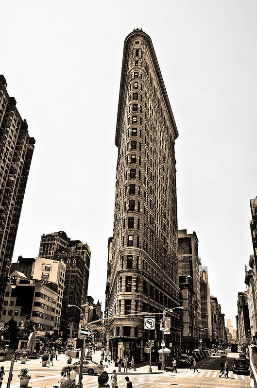 Flat Art Print featuring the photograph Flat Iron Building In Sepia by Bill Cannon