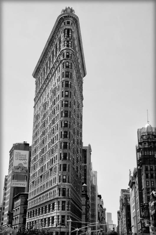 Flat Art Print featuring the photograph Flat Iron In Black And White by Bill Cannon