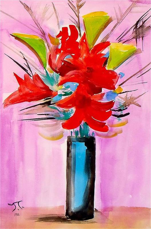 Floral Flowers Vase Art Print featuring the painting Floral by Troy Thomas