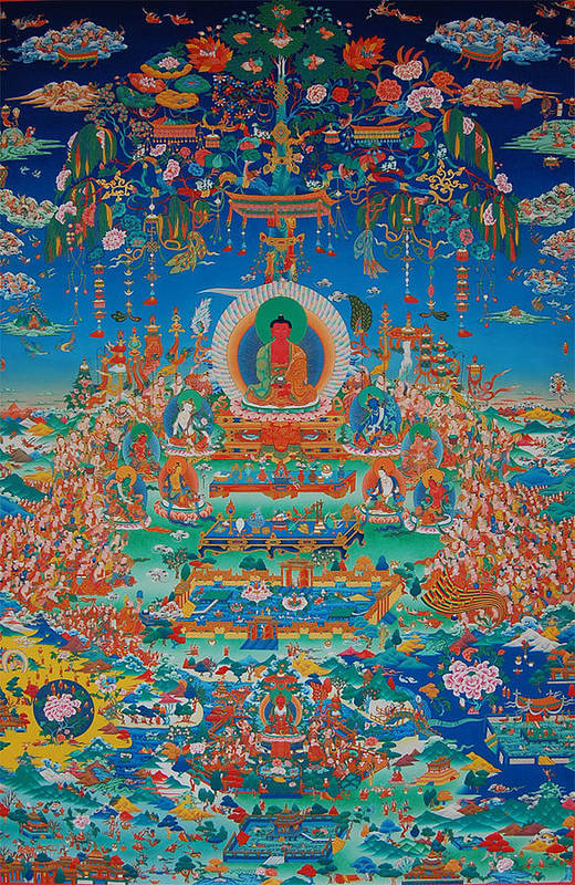 Buddha Art Print featuring the painting Glorious Sukhavati Realm Of Buddha Amitabha by Art School