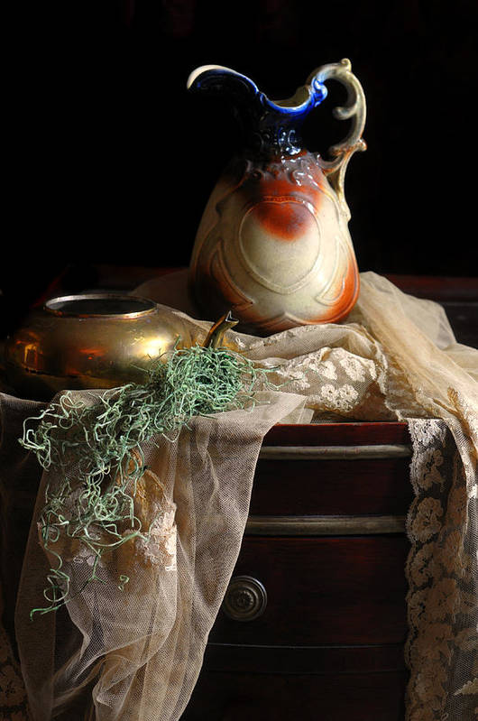 Still Life Print featuring the photograph Grandmother's Lace Cloth by Diana Angstadt
