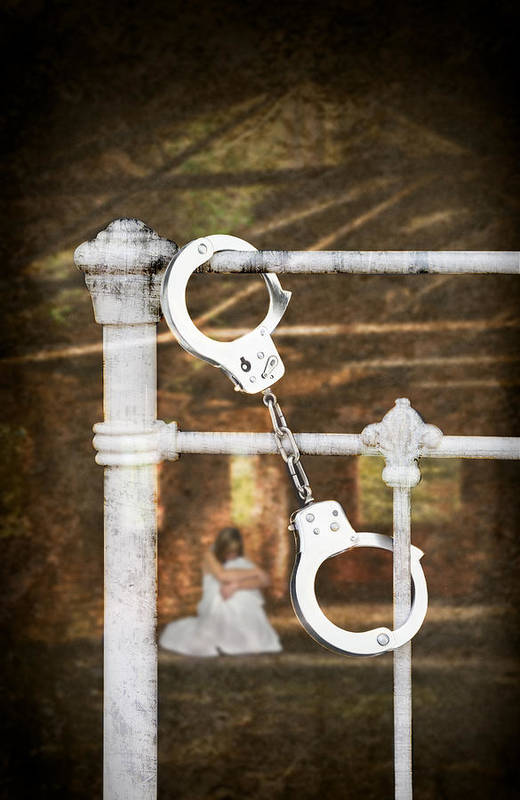 Handcuffs Art Print featuring the photograph Handcuffs On Bed by Amanda Elwell