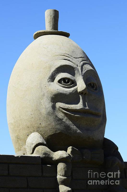 Humpty Dumpty Art Print featuring the photograph Humpty Dumpty Sand Sculpture by Bob Christopher