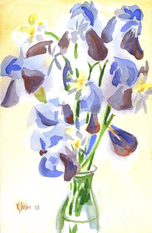 Irises Aglow Art Print featuring the painting Irises Aglow by Kip DeVore