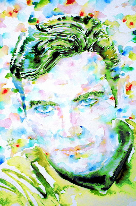 Kirk Art Print featuring the painting James T. Kirk - Watercolor Portrait by Fabrizio Cassetta