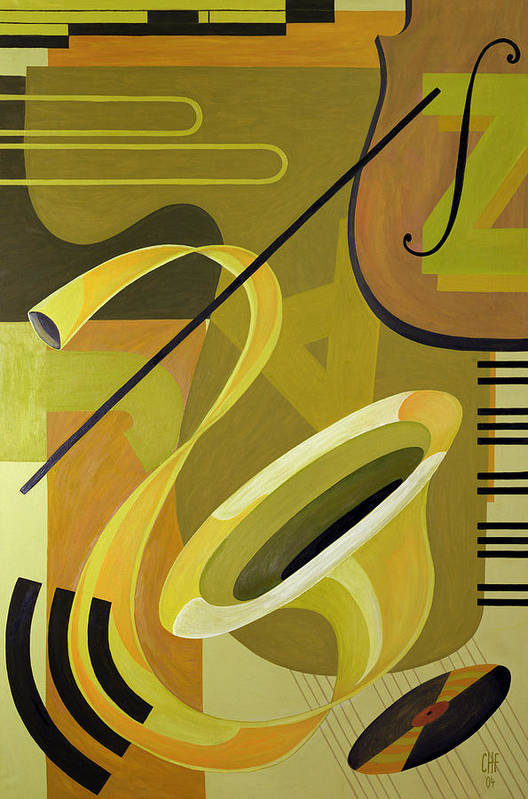 Music Later 20th Century Art Print featuring the painting Jazz by Carolyn Hubbard-Ford