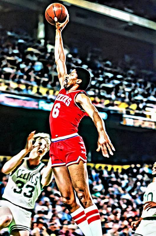Julius Erving Art Print featuring the painting Julius Erving by Florian Rodarte