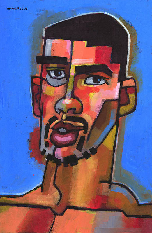 Expressionist Portrait Of Young Man With Facial Hair. Art Print featuring the painting Just Turned 19 by Douglas Simonson