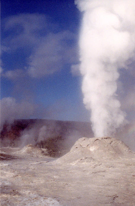Lion Geyser Art Print featuring the photograph Lion Geyser In Full Vent Mode by Mary Bedy