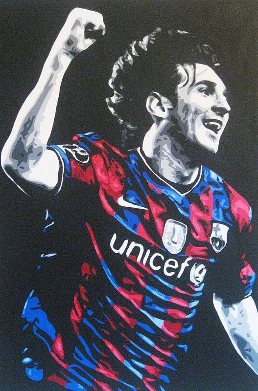Lionel Messi Art Print featuring the painting Lionel Messi - Barceona Fc 2 by Geo Thomson