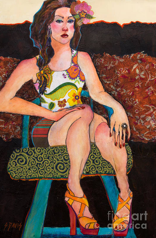 Woman Art Print featuring the mixed media Lola by Sherry Davis
