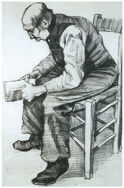 Man Reading The Bible Art Print featuring the drawing Man Reading The Bible by Vincent van Gogh
