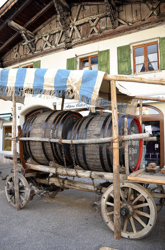 Wine Barrel Art Print featuring the photograph Medieval Wagon Used For Transporting Wine by Elzbieta Fazel