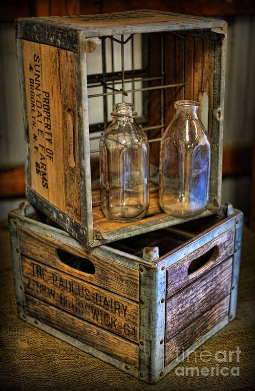 Milk Bottles And Crate Art Print featuring the photograph Milk Bottles And Crates by Lee Dos Santos
