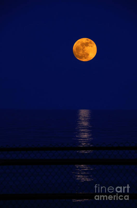 Moon Art Print featuring the photograph Moonrise Over Water by Charline Xia