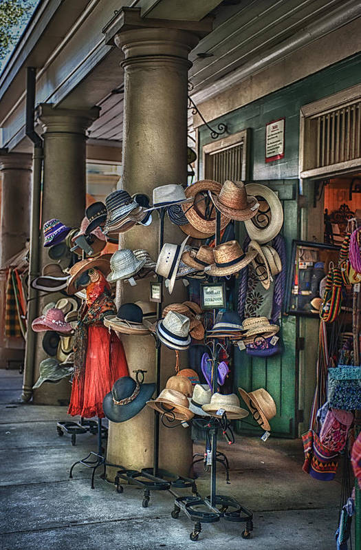 French Market Art Print featuring the photograph More Hats Inside by Brenda Bryant