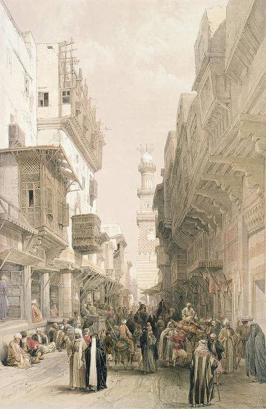 Street Print featuring the painting Mosque El Mooristan by David Roberts