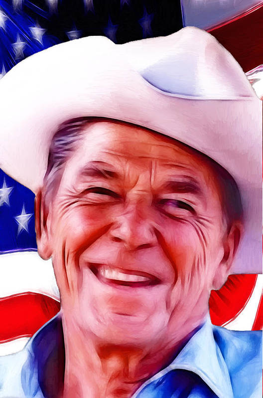 President Ronald Reagan Usa Us United State Governor Washington Flag American Actor 1911 1981 1989 California Legend Cowboy Art Print featuring the painting Mr.president 2 by Steve K